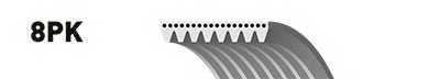 Поликлиновой ремень GATES 8PK1375 / 8PK1375ES - изображение