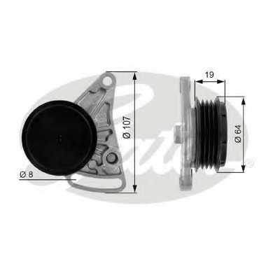Натяжной ролик поликлиновогоременя GATES T38068 - изображение
