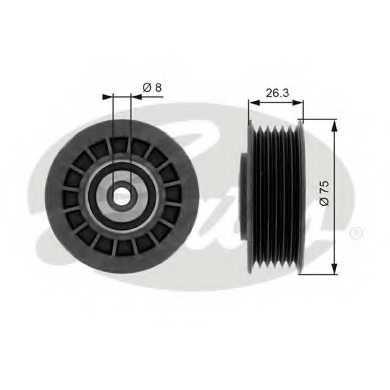 Паразитный / ведущий ролик поликлинового ременя GATES T38092 - изображение