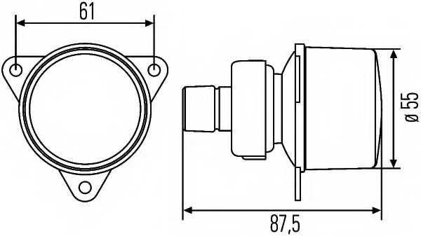 Задний противотуманный фонарь HELLA E1 1050 / 2NE 008 221-031 - изображение 1
