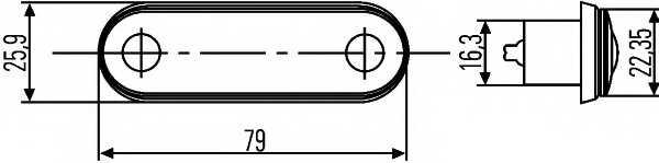 Габаритный фонарь HELLA E24 0054 / 2PF 959 590-202 - изображение 1
