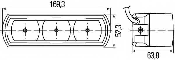 Комплект фар дневного освещения HELLA E1 2344 / 2PT 009 496-801 - изображение 1