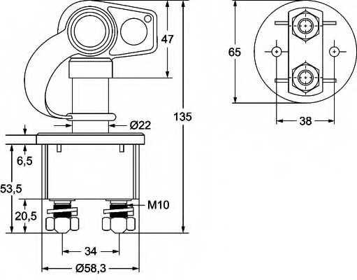 Выключатель аккумуляторной батареи, аккумуляторная батарея HELLA 6EK 002 843-131 - изображение 1