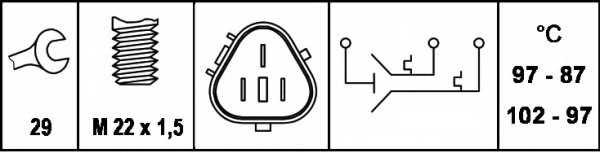 Термовыключатель вентилятора радиатора HELLA 6ZT 007 800-111 - изображение 1