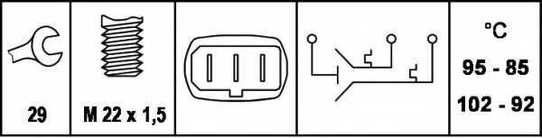 Термовыключатель вентилятора радиатора HELLA 6ZT 007 802-021 - изображение 1