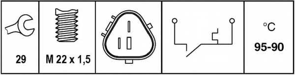 Термовыключатель вентилятора радиатора HELLA 6ZT 007 835-101 - изображение 1