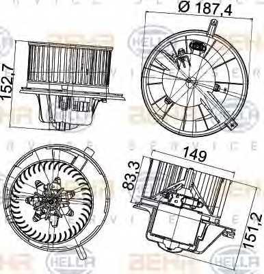 Вентилятор салона HELLA 8EW351043-211 - изображение