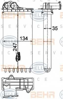 Радиатор отопления салона HELLA 8FH 351 315-561 - изображение