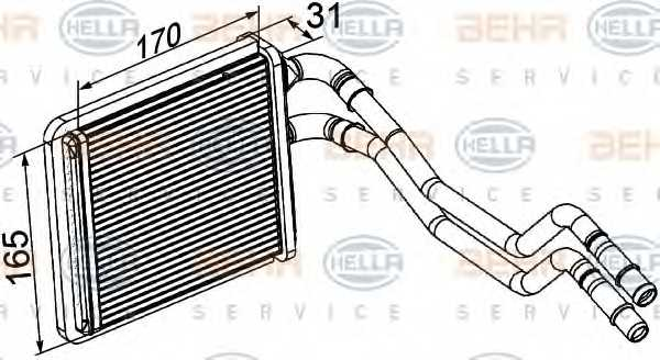 Радиатор отопления салона HELLA 8FH 351 315-591 - изображение