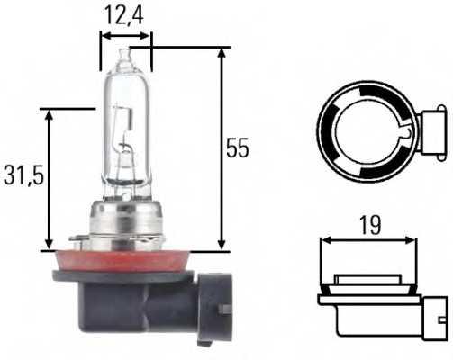 Лампа накаливания H9 12В 65Вт HELLA 8GH 008 357-001 - изображение