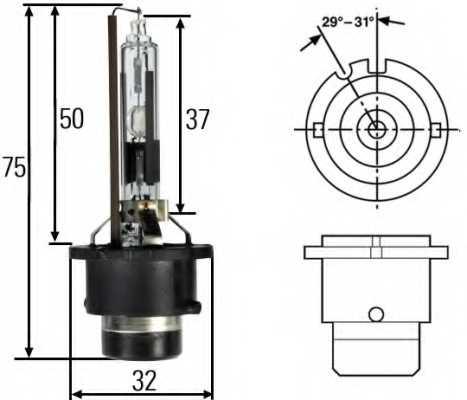 Лампа газоразрядная(ксеноновая) D2R 12В 35Вт HELLA 8GS 007 001-151 - изображение