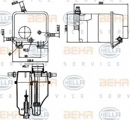 Расширительный бачек охлаждающей жидкости HELLA 8MA 376 755-211 - изображение