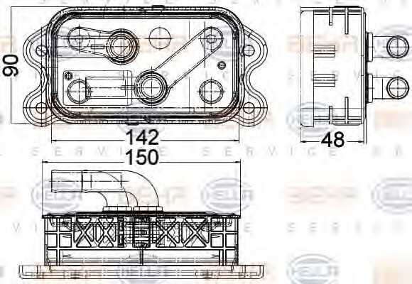 Масляный радиатор масла двигателя HELLA 8MO 376 756-761 - изображение