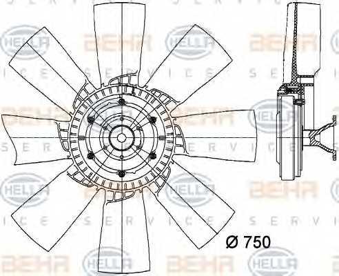 Вентилятор охлаждения двигателя HELLA 8MV 376 728-371 - изображение