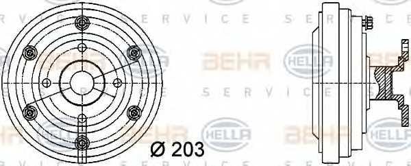 Сцепление вентилятора радиатора HELLA 8MV 376 731-281 - изображение
