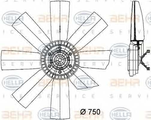 Вентилятор охлаждения двигателя HELLA 8MV 376 731-301 - изображение