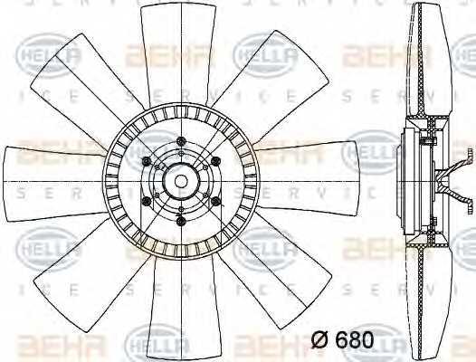 Вентилятор охлаждения двигателя HELLA 8MV376731-331 - изображение