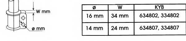 Амортизатор передний для RENAULT LAGUNA(556#,B56#,K56#) <b>KYB Excel-G 334802</b> - изображение