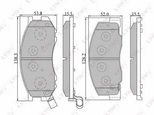 Колодки тормозные дисковые передний для TOYOTA LITEACE, PREVIA(TCR1#,TCR2#), TARAGO, TOWN ACE <b>LYNXauto BD-7515</b> - изображение