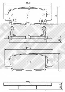 Колодки тормозные дисковые задний для NISSAN MURANO(Z50), QASHQAI(J10,JJ10), TEANA(J31,J32), TIIDA(C11X,SC11X), X-TRAIL(T30,T31) / RENAULT KOLEOS(HY#) <b>MAPCO 6754</b> - изображение