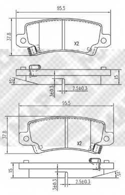 Колодки тормозные дисковые задний для TOYOTA COROLLA(##E11#, #E11#, #E12J#, #E12T#, CDE12#, NDE12#, ZDE12#, ZZE12#) <b>MAPCO 6764</b> - изображение