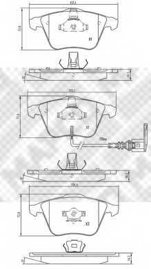 Колодки тормозные дисковые для AUDI A3(8P1,8PA) / SKODA SUPERB(3T4) / VW EOS(1F7,1F8), GOLF(1K1), PASSAT(357,3C2,3C5) <b>MAPCO 6791</b> - изображение