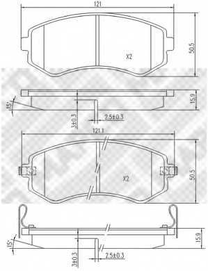Колодки тормозные дисковые передний для NISSAN ALMERA(N15), SUNNY(N14) <b>MAPCO 6810</b> - изображение