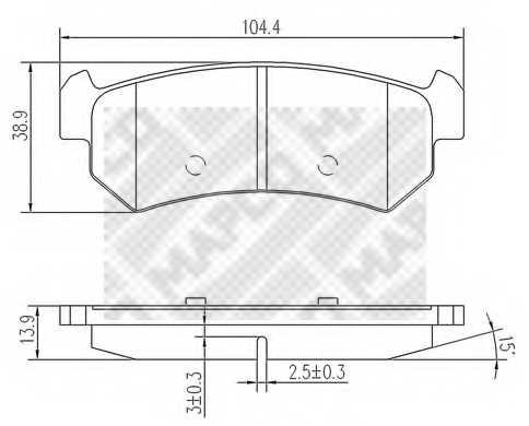 Колодки тормозные дисковые для CHEVROLET LACETTI(J200), NUBIRA / DAEWOO LACETTI(KLAN), NUBIRA(KLAJ,KLAN) <b>MAPCO 6812</b> - изображение