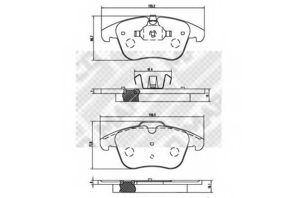 Колодки тормозные дисковые передний для FORD GALAXY, MONDEO, S-MAX / LAND ROVER FREELANDER, RANGE ROVER EVOQUE / VOLVO S60, S80, V60, V70, XC70 CROSS COUNTRY, XC70 <b>MAPCO 6853</b> - изображение