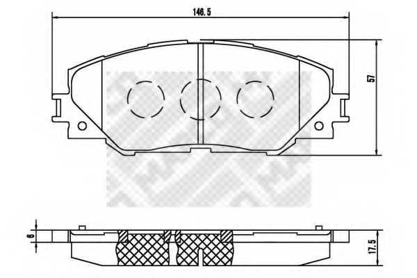 Колодки тормозные дисковые передний для TOYOTA RAV 4(ACA3#, ACE#, ALA3#, GSA3#, ZSA3#) <b>MAPCO 6891</b> - изображение