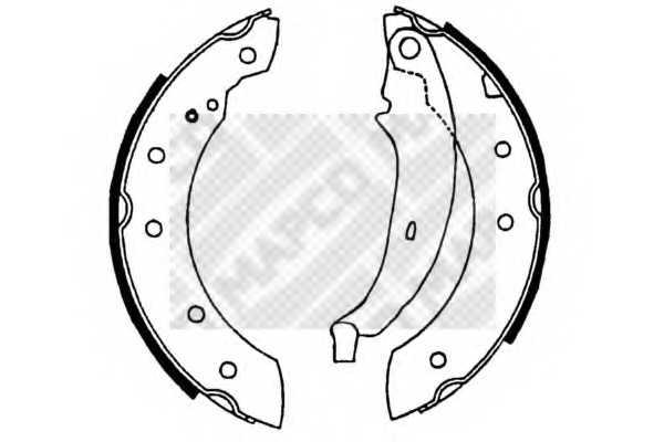 Комплект тормозных колодок задний для CITROEN LNA, SAXO, XSARA, ZX / PEUGEOT 106, 206, 306 / RENAULT CLIO, LAGUNA, LOGAN, SANDERO/STEPWAY, THALIA, TRAFIC, TWINGO <b>MAPCO 8128</b> - изображение