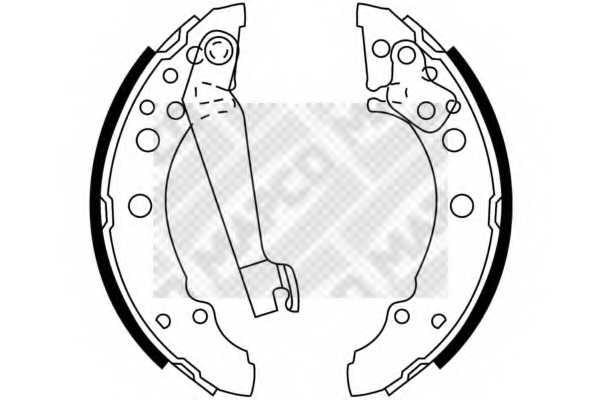 Комплект тормозных колодок задний для AUDI 100, 80, A2, COUPE / VW DERBY, GOLF, JETTA, LUPO, PASSAT, POLO, SANTANA, SCIROCCO <b>MAPCO 8772</b> - изображение