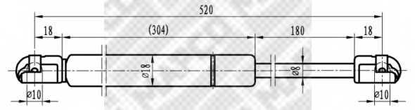 Газовая пружина (амортизатор) крышки багажника MAPCO 91520 - изображение