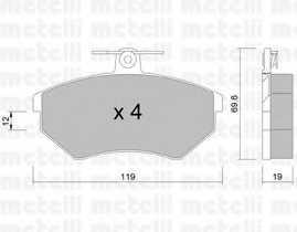 Колодки тормозные дисковые для VW CADDY(9K9A,9K9B,9U7), CORRADO(53I), GOLF(19E,1E7,1G1,1H1,1H5), PASSAT(35I,3A2,3A5), VENTO(1H2) <b>METELLI 22-0050-2</b> - изображение