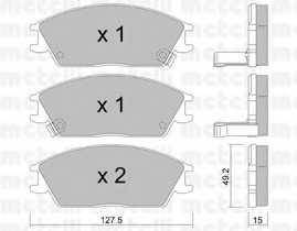 Колодки тормозные дисковые для HYUNDAI ACCENT(LC,X-3), GETZ(TB), LANTRA(J-1), PONY / EXCEL(X-2), PONY(X-2), S(SLC) <b>METELLI 22-0081-1</b> - изображение