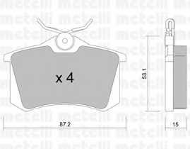 Колодки тормозные дисковые для PEUGEOT 405 / RENAULT CLIO / VW CORRADO, GOLF, JETTA, PASSAT, POLO, SCIROCCO, VENTO <b>METELLI 22-0100-0</b> - изображение