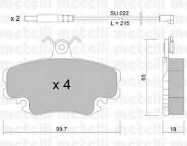 Колодки тормозные дисковые для PEUGEOT 205, 309 / RENAULT 11, 18, 19, 20, 21, 25, 30, 9, CLIO, ESPACE, EXPRESS, FUEGO, MEGANE, RAPID, SUPER 5, THALIA <b>METELLI 22-0120-0K</b> - изображение