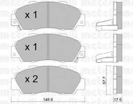 Колодки тормозные дисковые для ACURA LEGEND, NSX / HONDA ACCORD, CIVIC, CR, HR, INTEGRA, LEGEND, NSX, PRELUDE, SHUTTLE <b>METELLI 22-0298-0</b> - изображение