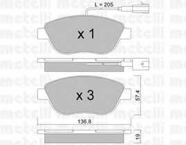 Колодки тормозные дисковые для CITROEN NEMO / FIAT BRAVO, DOBLO, DUCATO, FIORINO, LINEA, MULTIPLA, PUNTO, QUBO, STILO Multi, STILO / LANCIA DELTA / OPEL COMBO / PEUGEOT BIPPER <b>METELLI 22-0322-0</b> - изображение