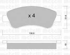 Колодки тормозные дисковые для CITROEN BERLINGO, C-ELYSEE, C2, C3, C4 CACTUS, C4, DS3, XSARA / PEUGEOT 1007, 2008, 206, 207, 208, 301, 307, PARTNER <b>METELLI 22-0327-0</b> - изображение