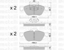Колодки тормозные дисковые для RENAULT CLIO(BR0/1, CR0/1), GRAND(JM0/1#), MEGANE(BM0/1#, CM0/1#, EM0/1#, KM0/1#, LM0/1#), SCENIC(JM0/1#), TWINGO(CN0#) <b>METELLI 22-0335-1</b> - изображение