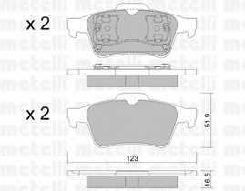 Колодки тормозные дисковые METELLI 22-0337-0 - изображение