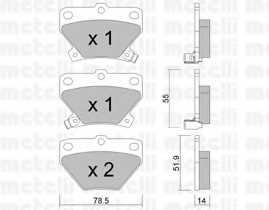 Колодки тормозные дисковые для TOYOTA CELICA, COROLLA, PRIUS, YARIS <b>METELLI 22-0424-0</b> - изображение