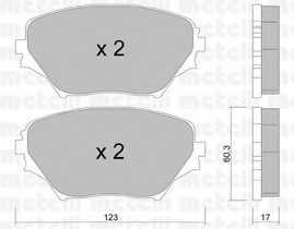 Колодки тормозные дисковые для TOYOTA RAV 4(ACA2#,CLA2#,XA2#,ZCA2#) <b>METELLI 22-0430-0</b> - изображение