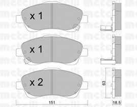 Колодки тормозные дисковые для TOYOTA AVENSIS(T25, T25#), COROLLA(CDE12#, R1#, ZDE12#, ZER#, ZZE12#) <b>METELLI 22-0450-0</b> - изображение