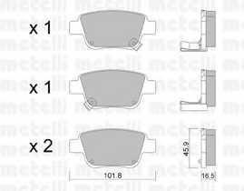 Колодки тормозные дисковые для TOYOTA AVENSIS(T25, T25#), COROLLA(CDE12#, R1#, ZDE12#, ZER#, ZZE12#), PREVIA(ACR3#, ACR5#, AHR5#, CLR3#, GSR5#, MCR3#) <b>METELLI 22-0451-0</b> - изображение