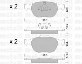 Колодки тормозные дисковые для FORD FIESTA(JD#,JH#), FOCUS(DAW,DBW,DNW), TOURNEO CONNECT, TRANSIT CONNECT(P65#,P70#,P80#) <b>METELLI 22-0533-0</b> - изображение