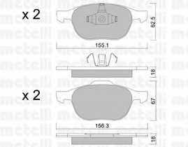 Колодки тормозные дисковые для FORD C-MAX, ECOSPORT, FIESTA, FOCUS, KUGA / MAZDA 3, 5 / VOLVO C30, C70, S40, V50 <b>METELLI 22-0534-0</b> - изображение