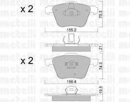 Колодки тормозные дисковые для VOLVO XC70 CROSS COUNTRY, XC90 <b>METELLI 22-0599-0</b> - изображение