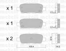 Колодки тормозные дисковые для INFINITI FX, QX50 / NISSAN CUBE, JUKE, LEAF, MURANO, PULSAR, QASHQAI, QUEST, TIIDA, X-TRAIL / RENAULT KOLEOS / SUZUKI GRAND VITARA, KIZASHI, XL7 <b>METELLI 22-0612-0</b> - изображение